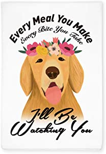 Funny Golden Retriever Dog Kitchen Hand Flour Sack Dish Towel, Home Kitchen Farmhouse Decor, Gift for Dog Pet Lover, Hostess, Friends, Family, Housewarming, Wedding, Birthday, Christmas, Thanksgiving