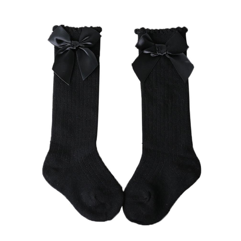 Sunnymi NEUF pour enfant filles Big Bow Coupe haute Long Tube Coton doux Dentelle bébé antidérapant Chaussettes