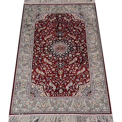 Yilong 3' x 5' Handmade Silk Rug Classic Oriental Traditional Qum Persian Medallion Hand Knotted Carpet S125B3x5