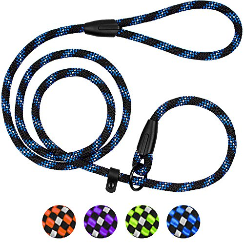 BronzeDog Rope Dog Leash 6ft Mountain Climbing Training Slip Show Lead Braided Reflective Leashes for Small Medium Large Dogs (S/M Slip Show Lead, Blue)