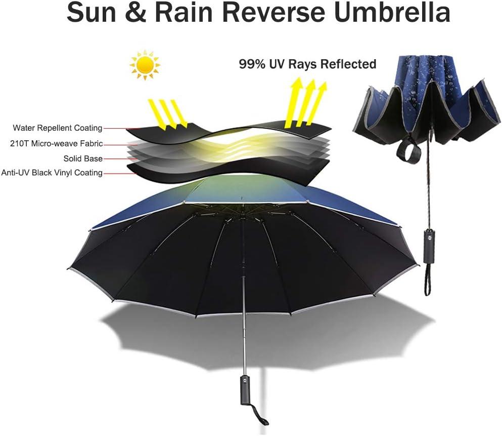 Ombrello Compatto Pieghevole-Nero Vinile Rivestito Rain /& Sun protezione dai raggi UV-Rose