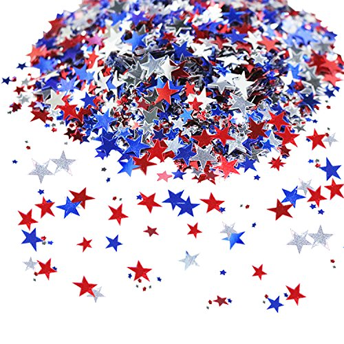 Mosoan Patriotic Confetti | Red White Blue Star Confetti | 4th of July Table Decorations Supplies -