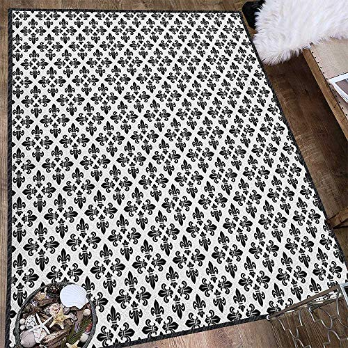 Fleur De Lis Indoor Modern Area Rug,Monochrome Abstract Curvy Ornament Graphic Stylized Traditional Swirls Curls Suitable for Home Decor Black White 71