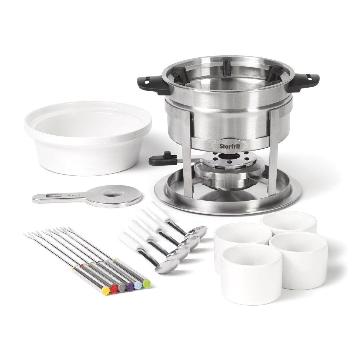 Starfrit 092522-004-0000 Starfrit 092522 Fondue 3-in-1 Set with Magnetic Fork Guide - 20 Pieces, 1.6L, Stainless