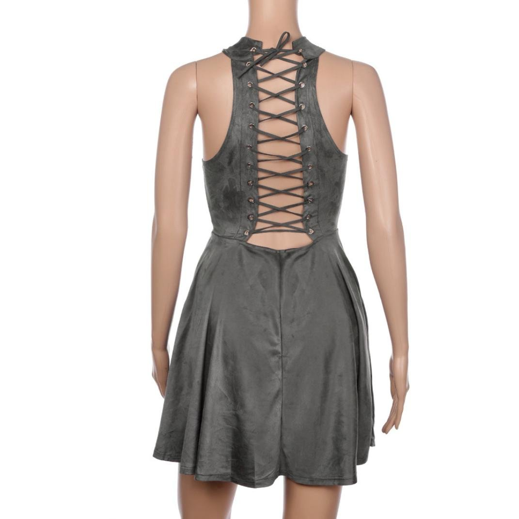 Hot Dress! AMA(TM) Women Summer Sexy Halter Sleeveless Evening Party Backless Hollow Out A-Line Dress (S, Gray) by AMA(TM) (Image #4)
