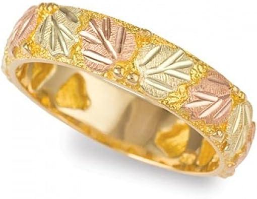 Black Hills Gold Wedding Band Ring 10k Rose Green Yellow Grape Leaves Nature