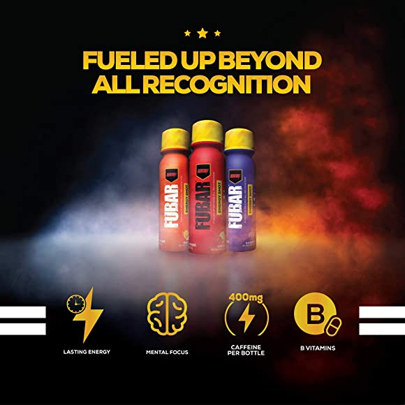 Redcon1 – FUBAR Fueled Up Beyond All Recognition – Case of 12 Energy Shots, Lasting Energy, B Vitamins, Increases Mental Focus, 400mg Caffeine Blue Raspberry