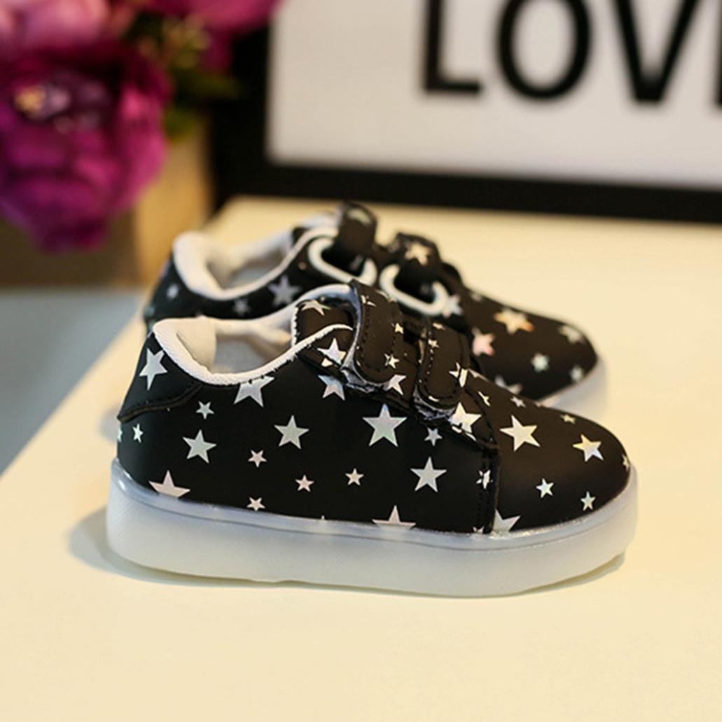 Voberry Kids Baby Leather Sneakers Child Toddler Luminous Light Casual Shoes