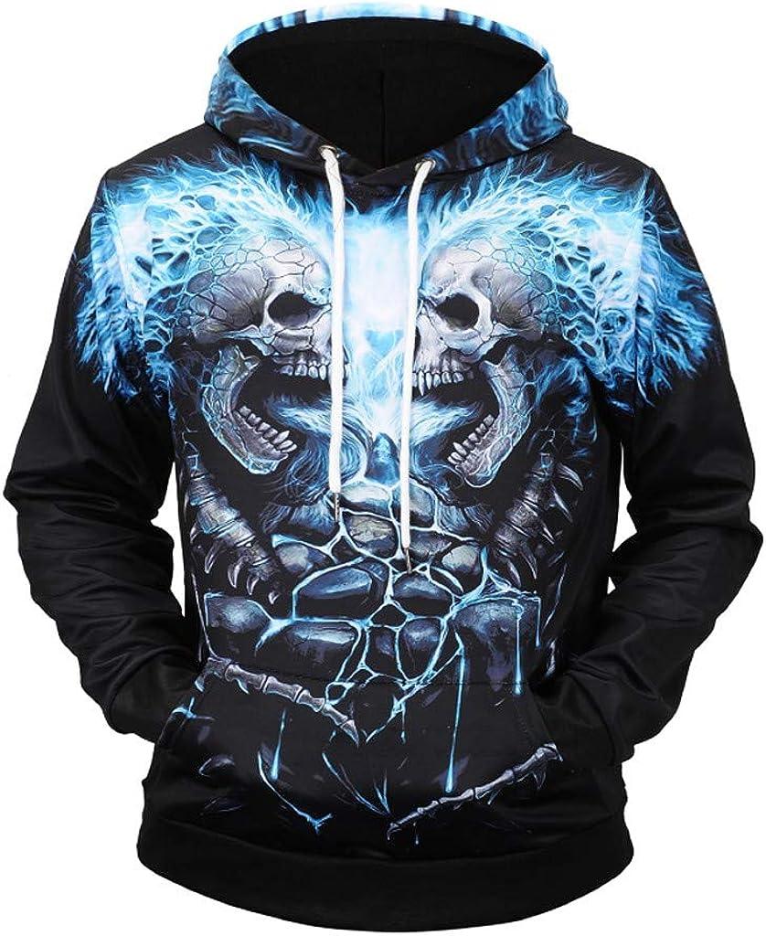 3D Print Skull Sweatshirt Hoodies Pullover for Men Crewneck Long Sleeve Tops Blouse Autumn Tracksuit Hooded WEI MOLO