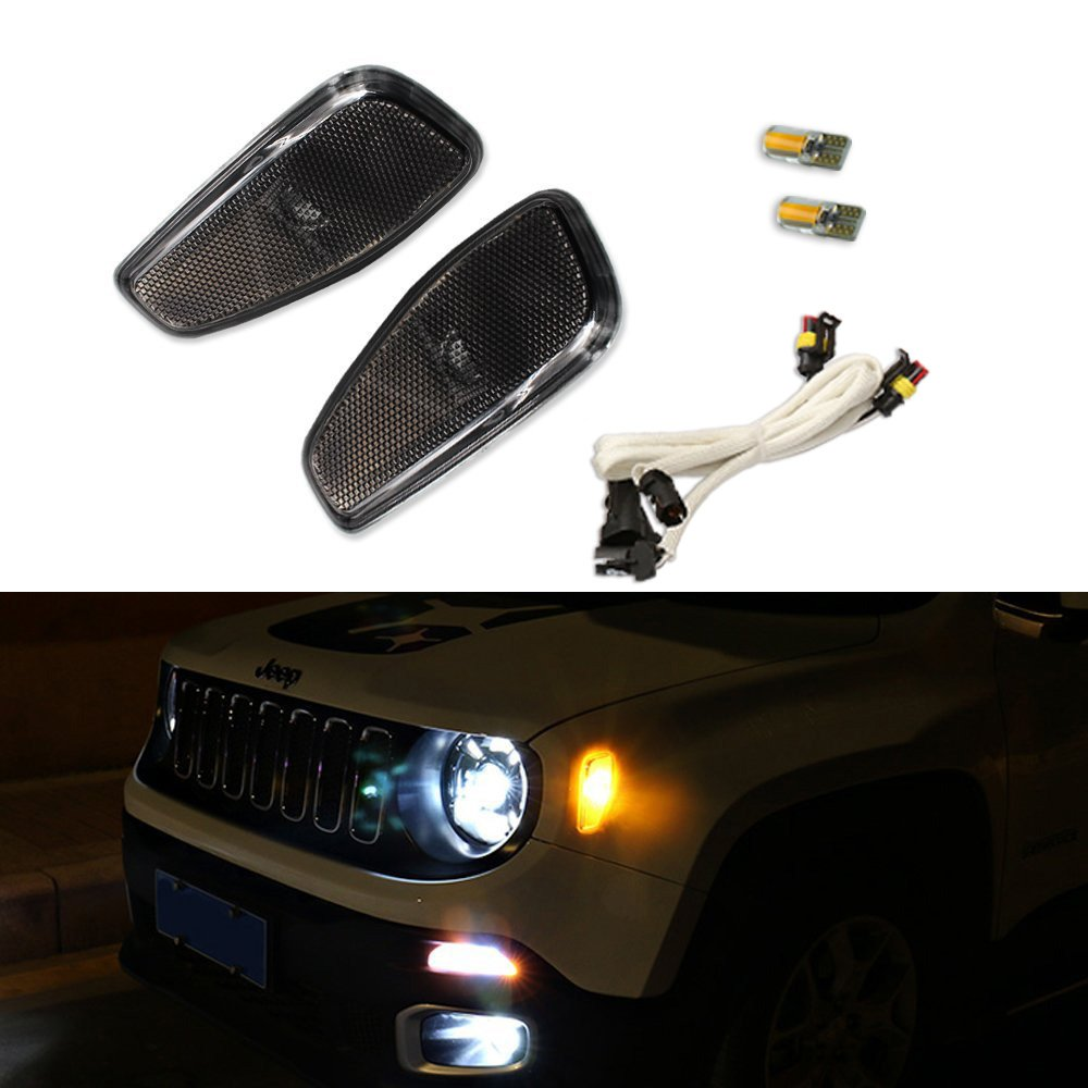 Smoked Lens Amber Led Lights By Gtinthebox Side Marker Bmw E39 Angel Headlight Corner Signal Socketwiring Connectorbulb Turn Lamps Update Kit For Jeep Renegade 2014 2015 2016 2 Pcs Pack Automotive