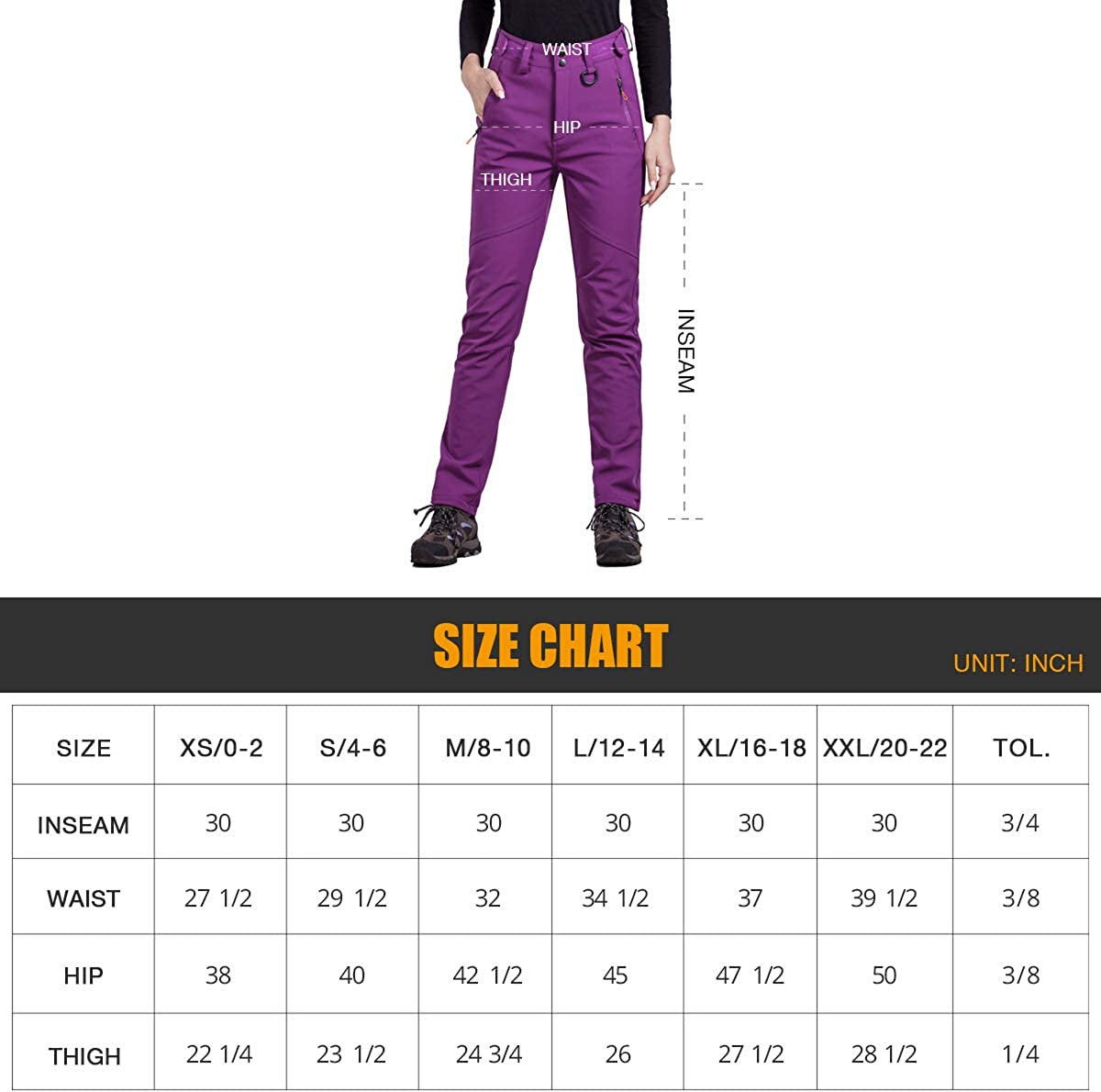 FREE SOLDIER Outdoor Womens Snow Ski Pants Soft Shell Fleece Lined Pants Water Resistant Camping Hiking Nylon Pants