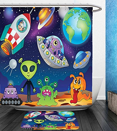 Beshowereb Bath Suit: Showercurtain Bathrug Bathtowel Handtowel Outer Space Decor Planet Fantasy on Interstellar Terrain with Astronaut Cosmonaut and Aliens - Versace Blush