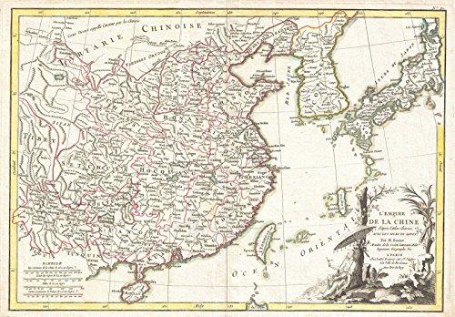 (Historical 1770 Bonne Map of China, Korea, Japan and Formosa | 16 x 24in Fine Art Print | Antique Vintage Map )