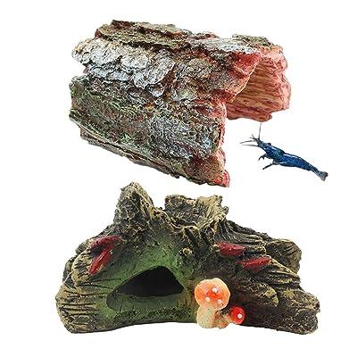 kathson Aquarium Cave Fish Hideout Resin House Decor 2pcs Betta Log Hollow Decaying Wood Trunk Ornament