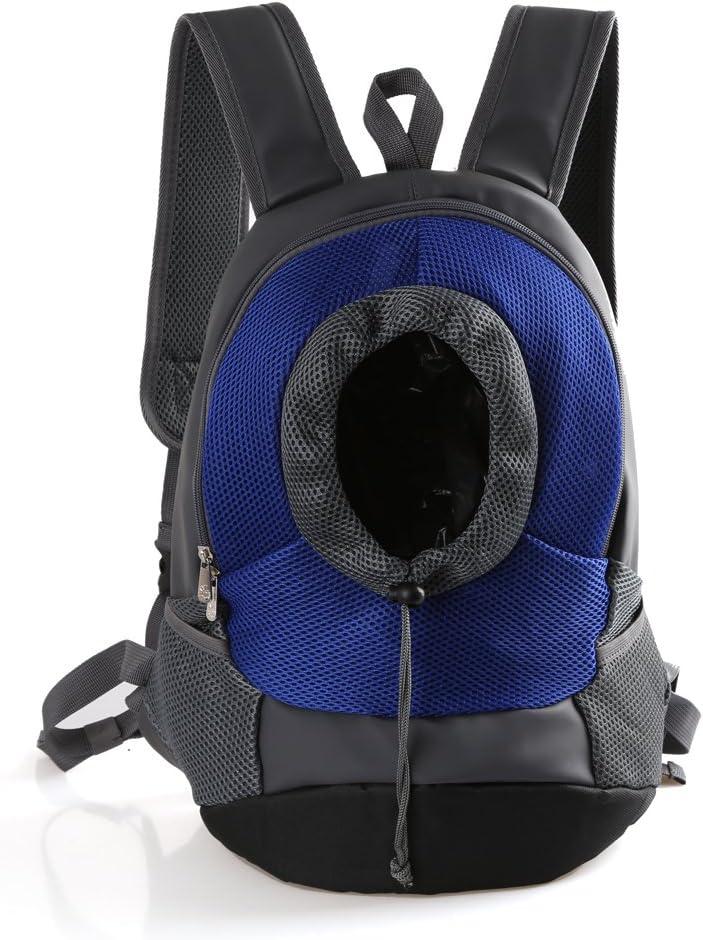 Tineer Al Aire Libre Transpirable Pet Dog Carrier Mochila Nylon Bolsa Delantera portátil de Viaje Pet Dog Bag Ajustable Malla de Hombro Pet Mochila Pet Head out (S, Azul)