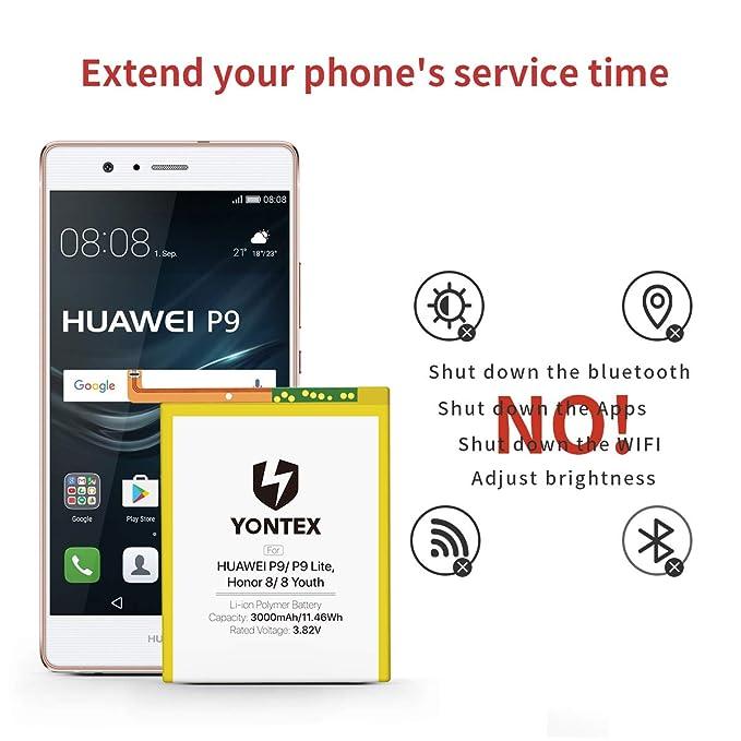 YONTEX Batería para Huawei P9 Honor 8 3000mAh HB366481ECW reemplazo, nueva batería 0 ciclo compatible con Huawei P9/ P9 Lite, Honor 8/8 Youth con ...