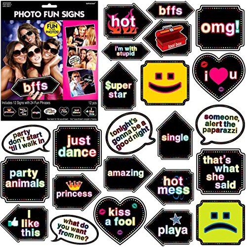 Amscan Let's Party Photo Fun Signs Game   Game Collection   Party Accessory } 6 Kits