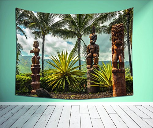 Avamam Tapestry Wall Art Palm Tree Tropical Island Ocean Hawaii Tiki Mask Art Pictures Fine Art Ations Fabric Brown Mustard Green White-S Wall Hanging For Bedroom Living Room Dorm Size-80