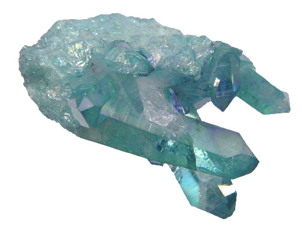 Aqua Aura Fume Plated Natural Raw Quartz Healing Crystal Cluster Reiki Activated