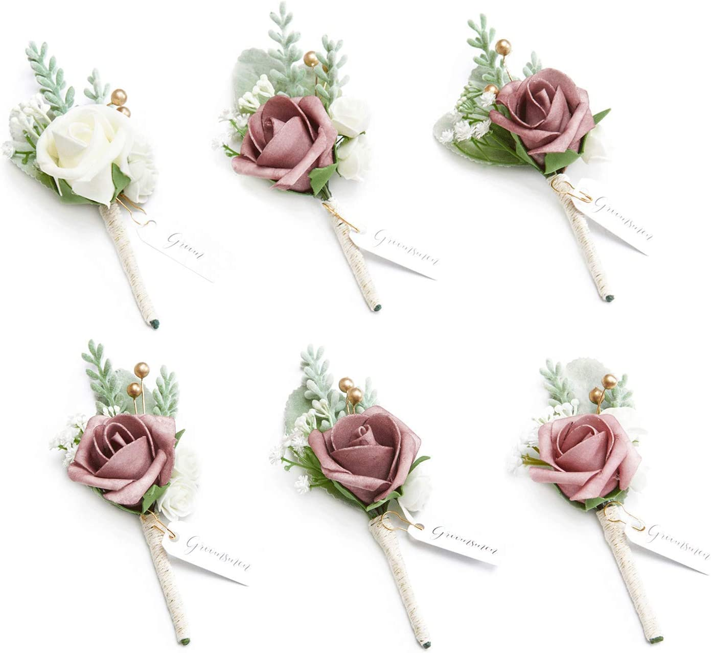 Ling's moment Dusty Rose Boutonniere for Men Wedding Best Man Flower Dusty Boutonniere Set for Anniversary Wedding Ceremony Engagement