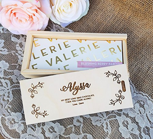 Wood Candy Box - Personalized Gift Small Wood Box - Name and Custom Message - Includes Artisan Chocolate Candy Bar from Valerie Confections
