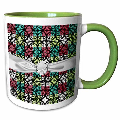 3dRose Dooni Designs Damask Patterns - Carnation Pink Lime Aqua Sweet Damask Squares Faux Diamond Ribbon - 11oz Two-Tone Green Mug (mug_118967_7)