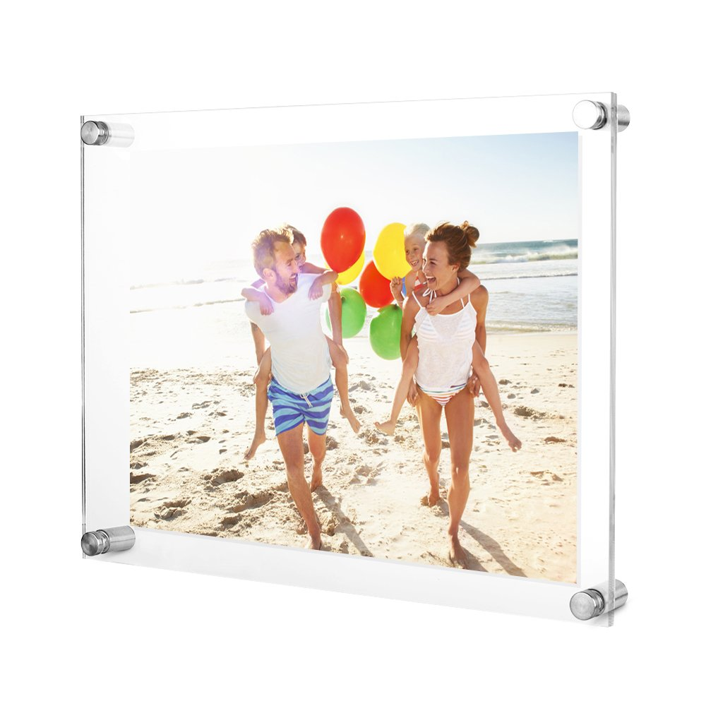 TWING Upgraded Tempered Acrylic 8.5 x11 Picture Frame -Clear Acrylic Wall Mount Floating Photo Frame for Document Certificate Sign Holder