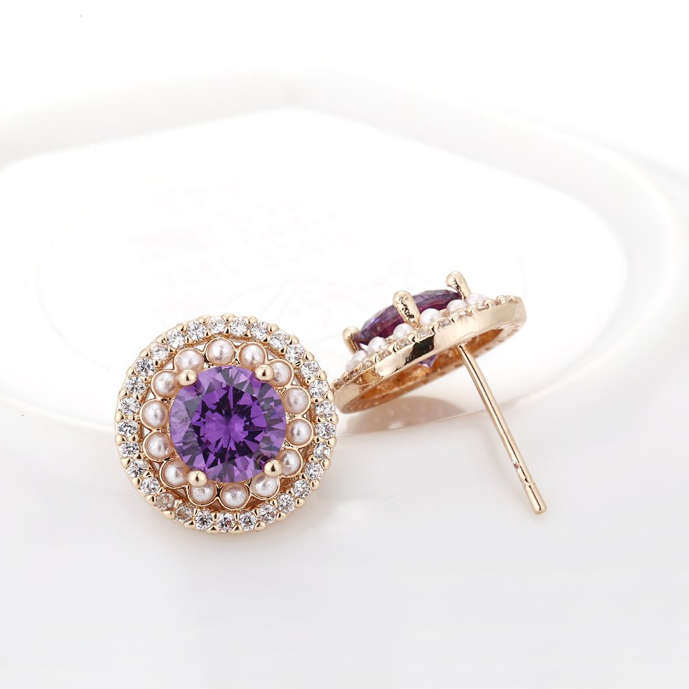Gemstone Stud Earrings for Women 14k Plated Geometric Cubic Zirconia Crystal CZ Birthstone Encircled by Pearls Bridal Fashion Stud Earrings for Wedding Bridesmaids Party Prom Birthday Everyday