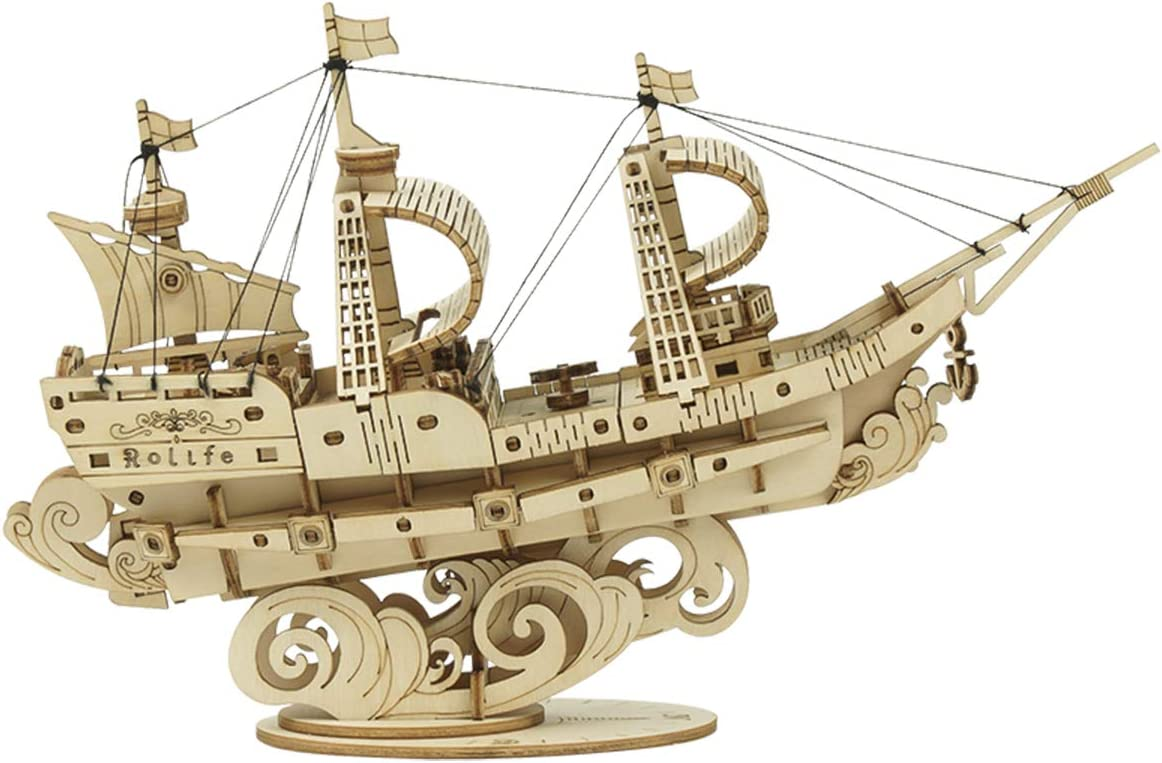 Rolife 3D Wooden Puzzle Ship Models Building Kits Gift for Adults and Kids (Sailing Ship)