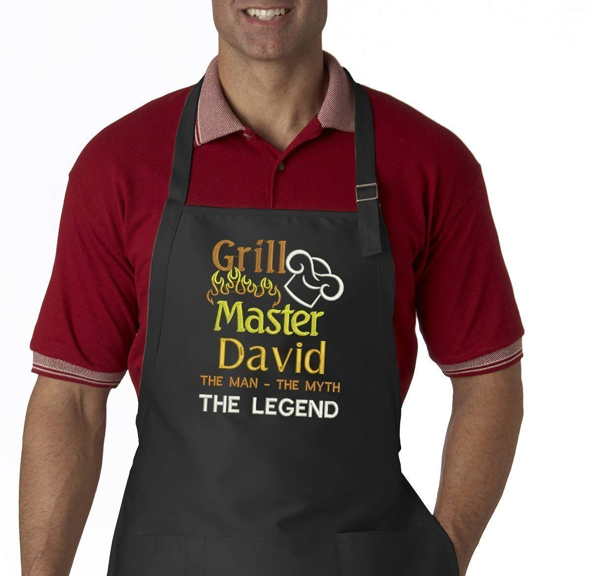 Grill Master The Man The Myth The Legend Personalized Men's Embroidered BBQ Apron by Simply Custom Life (Image #1)