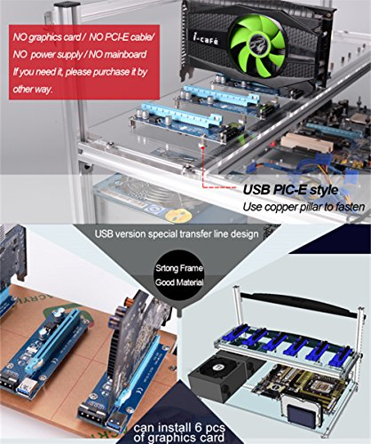 6 GPU Mining rig Aluminum Stackable Open air Mining Case Computer ETH Frame Rig for bitcon Miner Kit Unassembled Ethereum (6 GPU) by Kyerivs (Image #2)