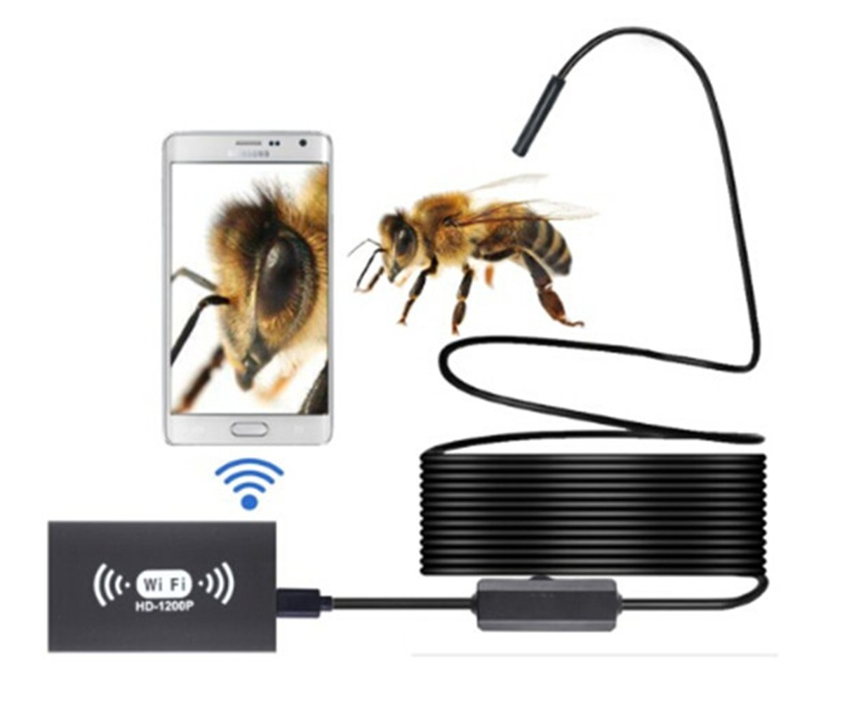 WiFi USB Endoscope HD 1200P Wifi Camera 8mm Waterproof Antscope Snake Pipe Tube Camera for Android iOS (Black, 3.28 feet)