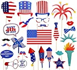 36 Ct Fourth of July Photo Booth Props - 4th of July Patriotic Red White Blue Party Supplies Decorations