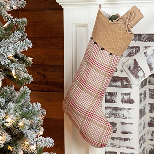 Piper Classics Red and Tan Plaid & Burlap Christmas Stocking w/Jingle Bells, 12