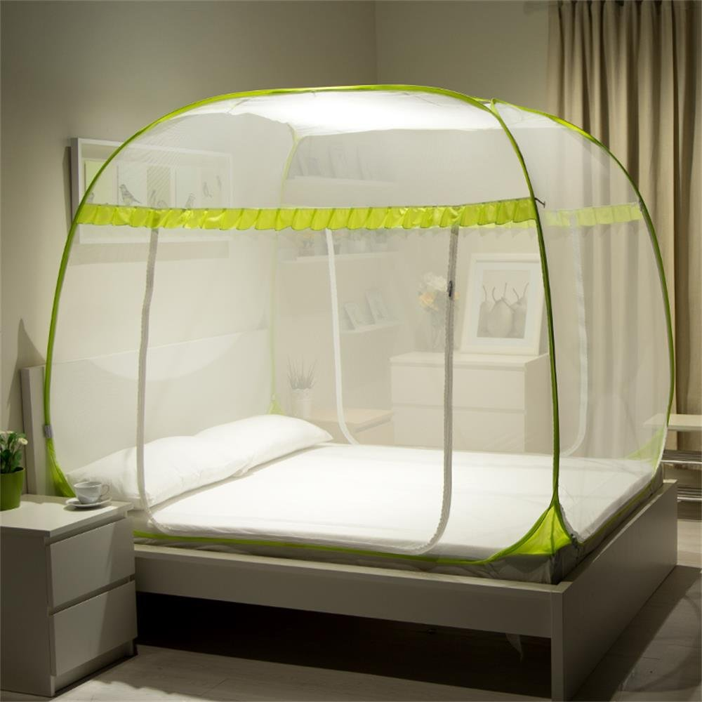 Royal- mosquito net Simple encryption thickened zipper Double(1.8m (6 feet) bed) ( Color : Yellow ) by Mosquito Net