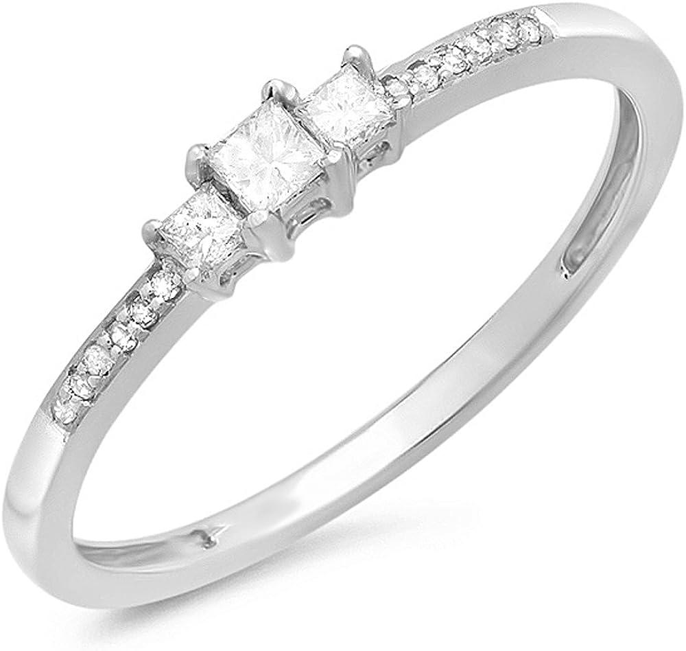 Dazzlingrock Collection 0.18 Carat (ctw) 14K Princess & Round Diamond Ladies 3 Stone Bridal Engagement Ring, White Gold