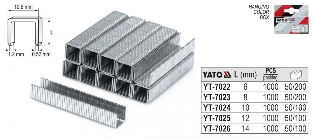 Yato yt-7023 –  8 mm Klammern/10.6 x 1.2/1000pcs