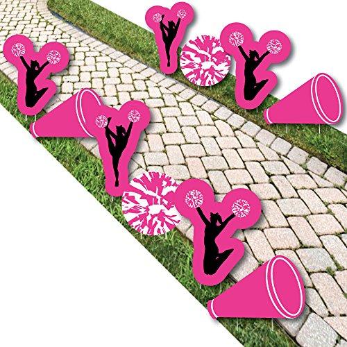 (We've Got Spirit - Cheerleading - Pom-Pom, Cheer & Megaphone Lawn Decorations - Outdoor Birthday Party or Cheerleader Party Yard Decorations - 10 Piece)