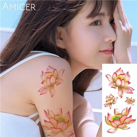 tzxdbh 3pcs / Sakura Rose Flor Grande Impermeable Tatuaje Femenino ...