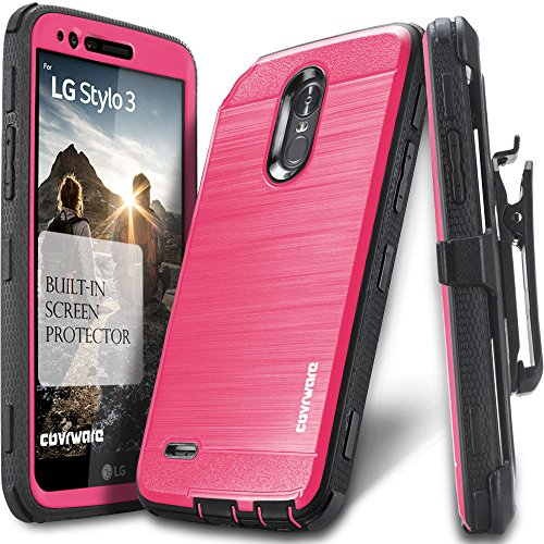 Price comparison product image LG Stylo 3 / Stylo 3 PLUS Case, COVRWARE [IRON TANK] Built-in [Screen Protector] Heavy Duty Full-Body Rugged Holster Armor [Brushed Metal Texture] Case [Belt Clip][Kickstand] For LG Stylo 3, Pink