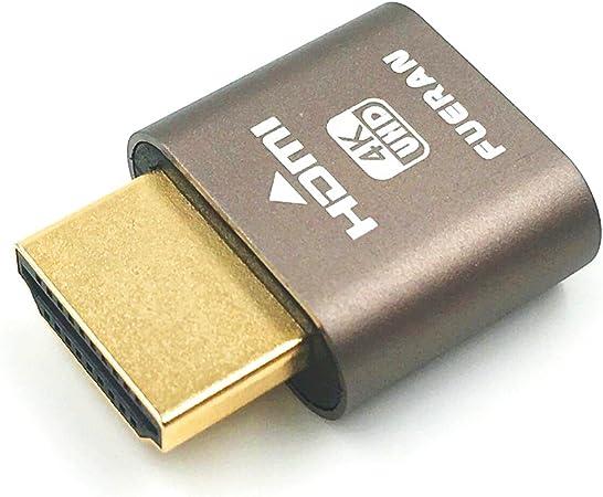 XT-XINTE Virtual Display Adapter HDMI DDC EDID Dummy Plug Headless Ghost Display Emulator 1920x1080 Lock Plate Generation@60Hz Gray Gold,10 Pcs