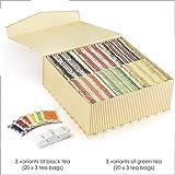 Octavius Tea Bag Gift Box Set 6 Assorted Tea Flavors in Black and Green Teas, 120 Tea Bags