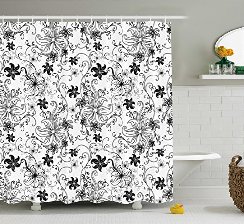 Ambesonne Floral Shower Curtain, Flowers Leaves Twirled Swirls Buds Ethnic Nature Romantic Design Artwork Print, Fabric Bathroom Decor Set with Hooks, 70 inches, Black and (Black Floral Swirls Design)