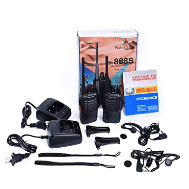 Nestling 888S Walkie Talkie 2pcs in One Box with Rechargeable Battery Headphone Wall Charger Long Range 16 Channels Two Way Radio 2pcs radios