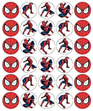 Enjoyable 30 Spiderman Cupcake Toppers Edible Wafer Paper Fairy Cake Toppers Funny Birthday Cards Online Unhofree Goldxyz