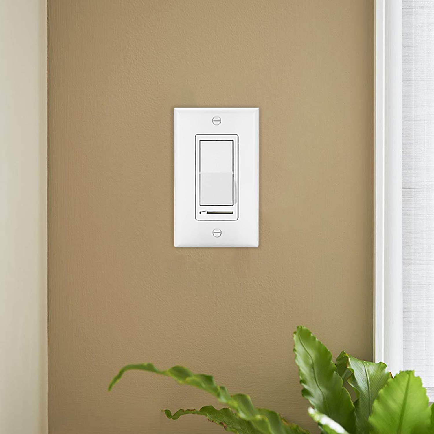 [10 Pack] BESTTEN Dimmer Light Switch, Universal Lighting Control, Single Pole or 3 Way, Compatible with LED Dimmable Lamp, CFL, Incandescent, Halogen Bulb, Decorative Wall Plate Included, White by BESTTEN (Image #2)