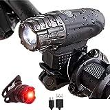 GGTT Luces Bicicleta Recargable USB Luces Delanteras y Traseras de Bicicleta, Lámpara Impermeable IPX5 con 4 Modos de Luz par