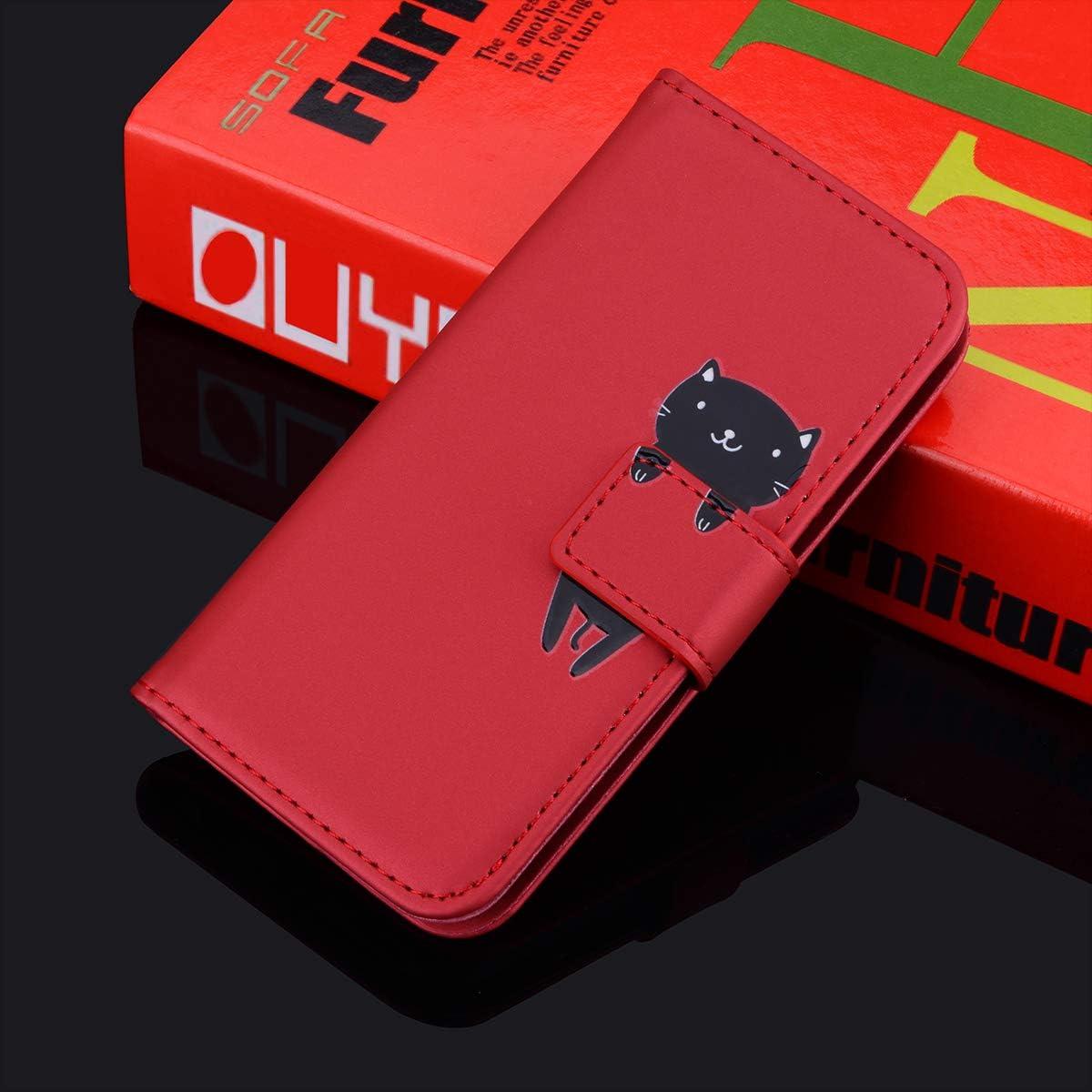 Surakey Etui Coque pour Huawei P Smart Plus 2019,Protection Housse Etui /à Rabat en Cuir PU Portefeuille Livre,Dessin Anim/é Animaux Flip Case Cover Fermeture Magn/étique avec Fonction Stand,Rouge