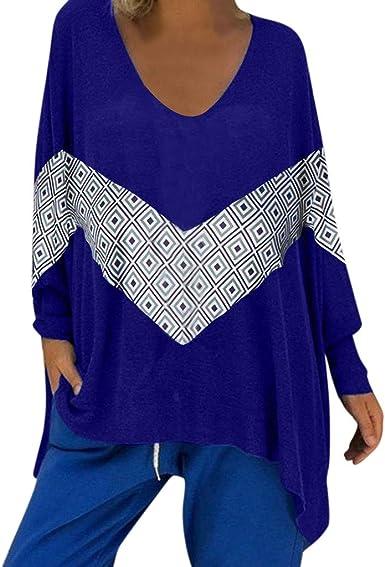 Sylar Camisetas Mujer Manga Larga Blusas para Mujer Elegantes Camisetas De Mujer con Cuello En V Suelto Tops Blusa Estampado para Mujer Camisetas Talla Grande: Amazon.es: Ropa y accesorios