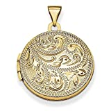 Mia Diamonds 14K Yellow Gold 20mm Round Fully Scroll Hand Engraved Locket Pendant (30mm x 21mm)